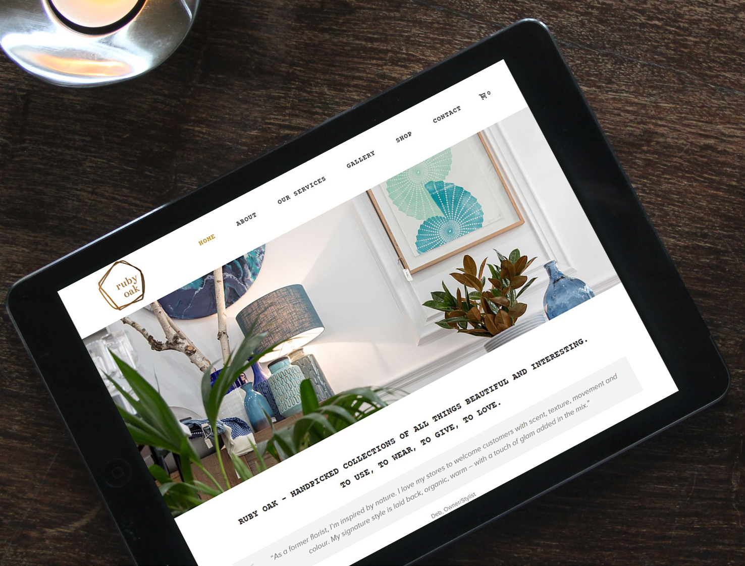 Website copywriting Ruby Oak Giftware