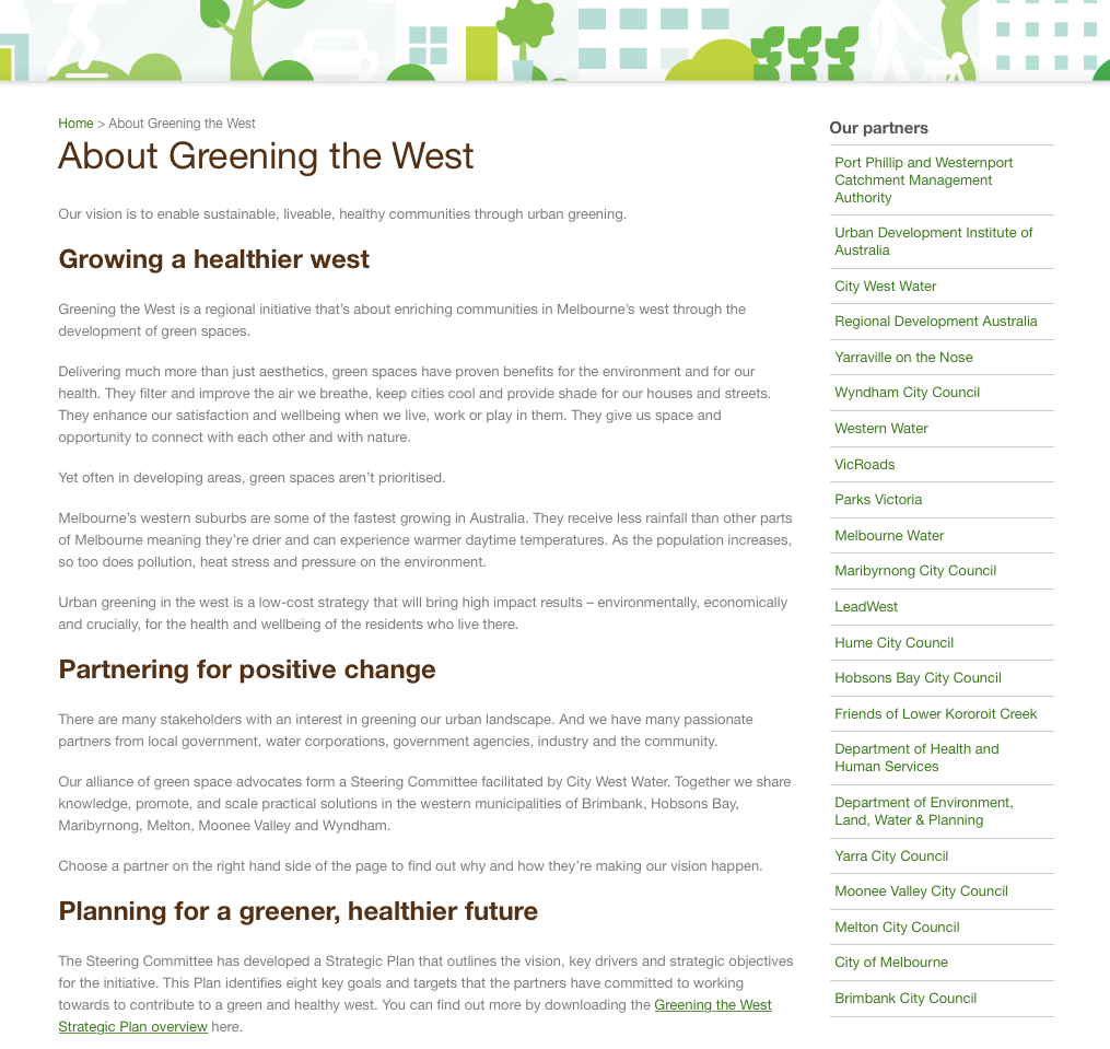 Greening the West Portfolio page 1