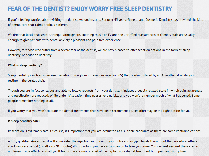 GACDentistry sleep dentistry copywriting