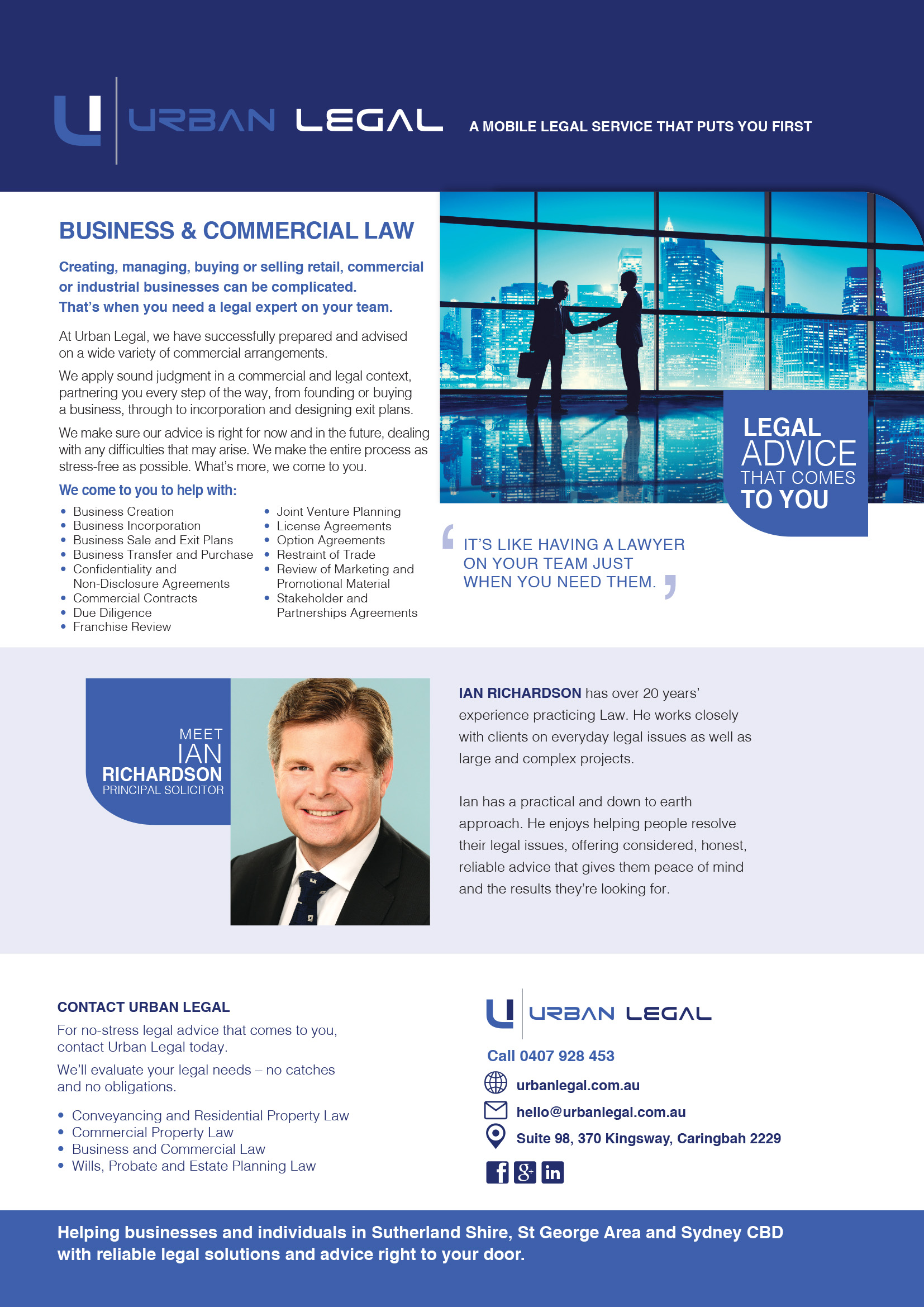 Brochure copywriting urbanlegal_business and commercial