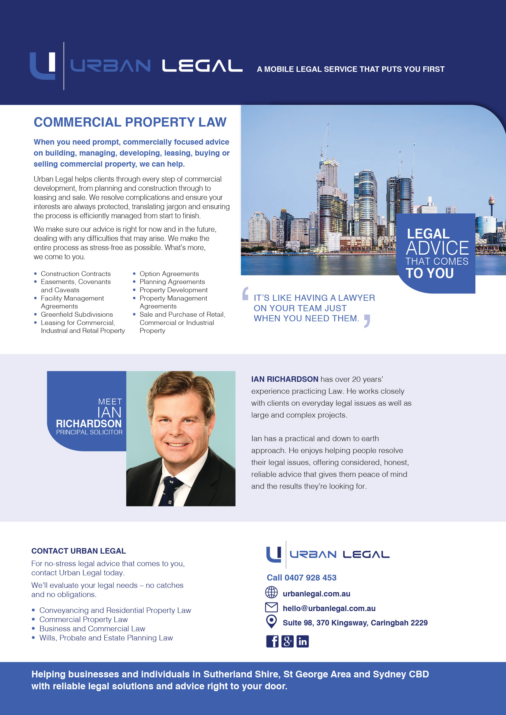 Brochure copywriting Urban Legal comercial property