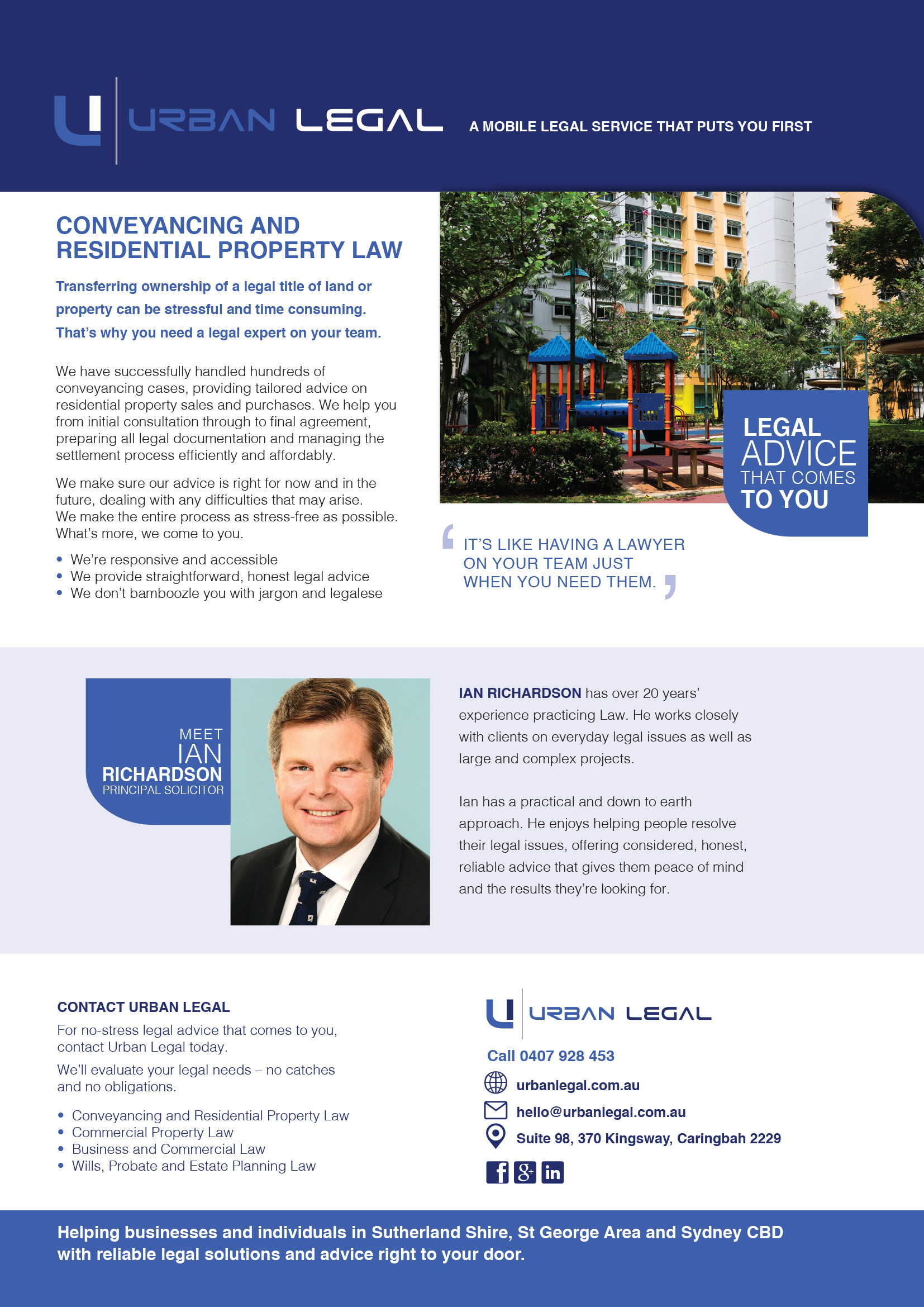 Brochure copywriting Urban Legal conveyancing