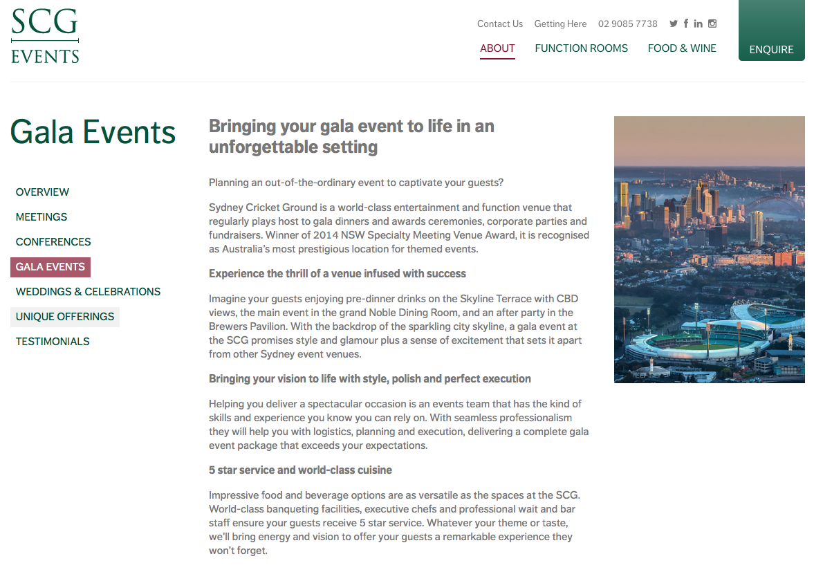 SCG Gala Events web copy