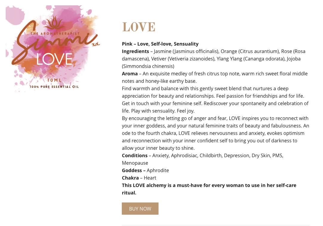 Love - Aromatherapy web copywriting