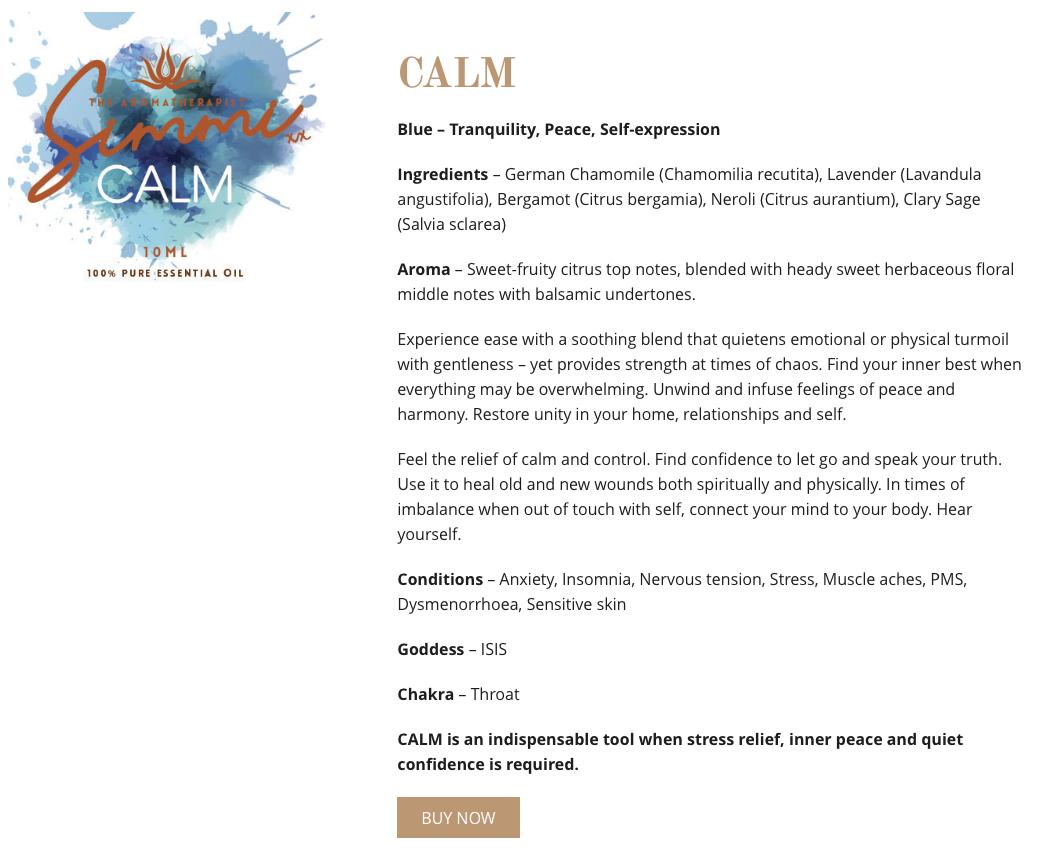 Calm - Aromatherapy web copywriting