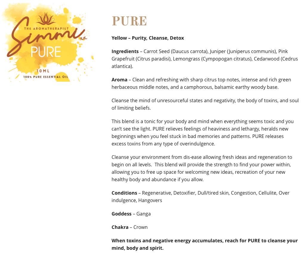 Pure - Aromatherapy web copywriting