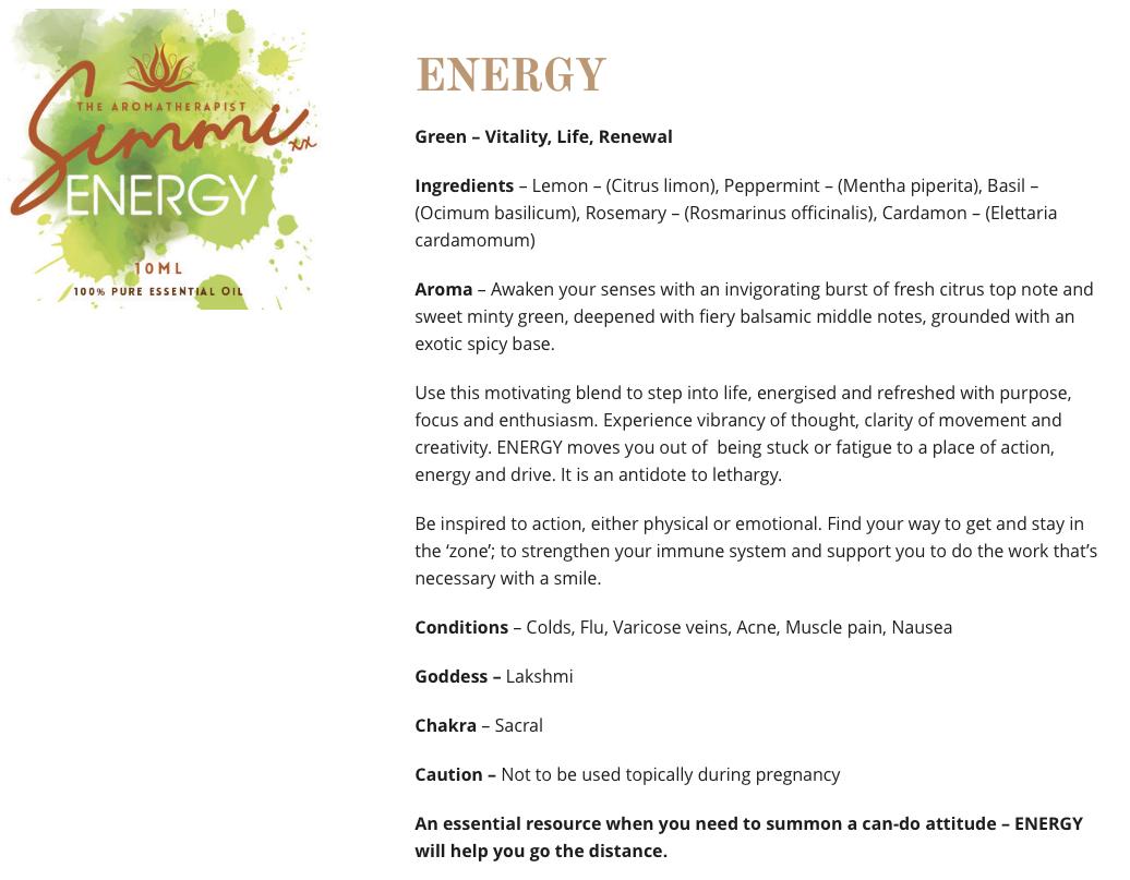 Energy - Aromatherapy web copywriting