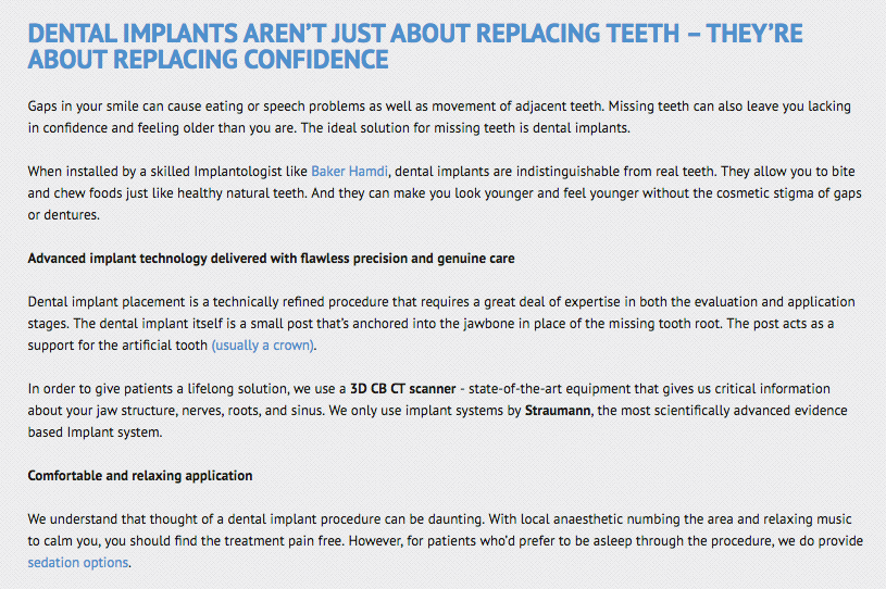 GACDentistry dental implants copywriting