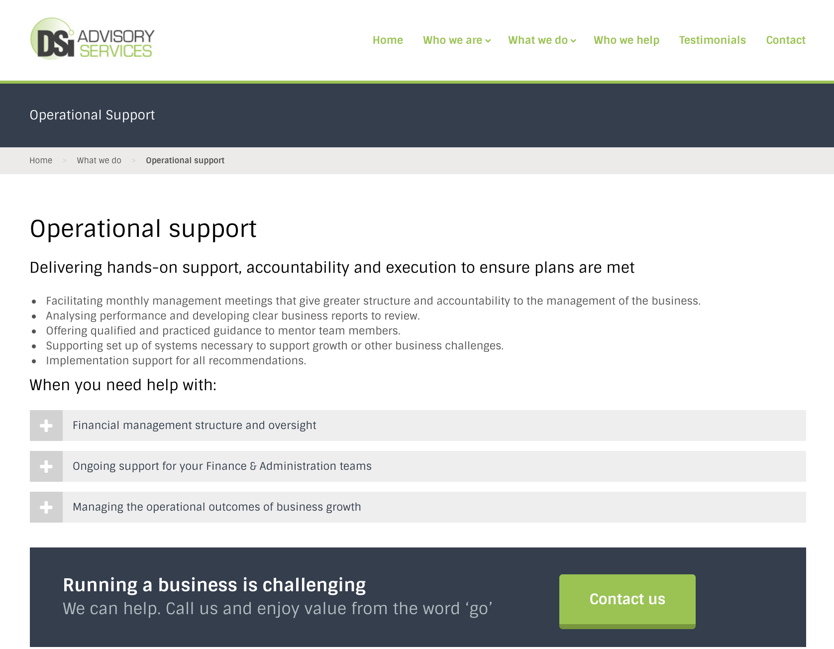 DSI financial copywriting operational support