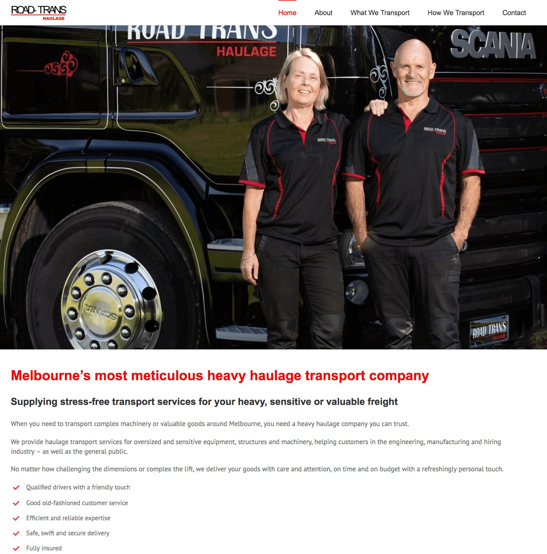 RoadTrans Haulage Home page copy