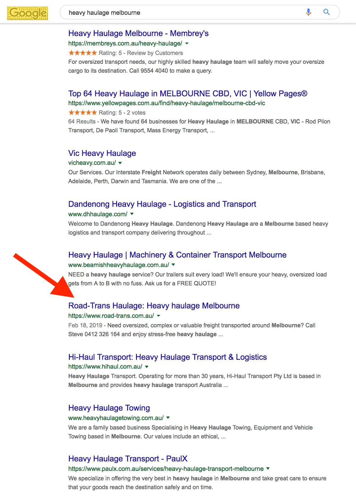RoadTrans Haulage page 1 Google