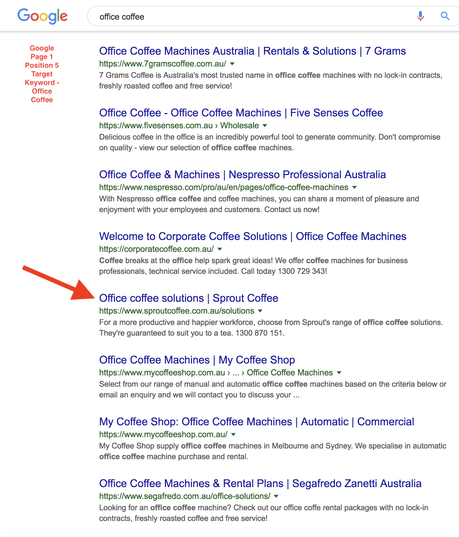 Sprout Coffee Google page 1 2019-02-27 pm