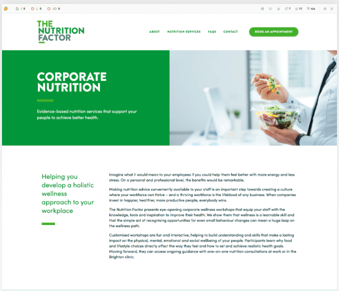 Nutritionist copywriting corporate nutrition