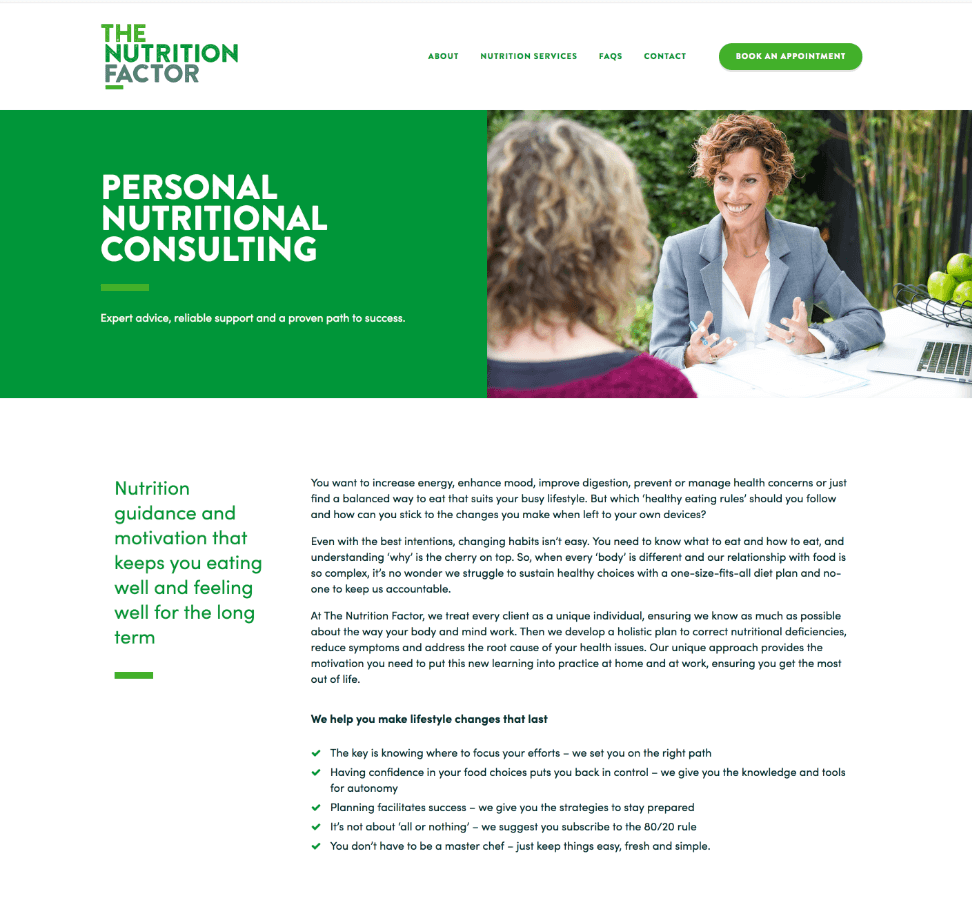 Nutritionist copywriting personal nutrition