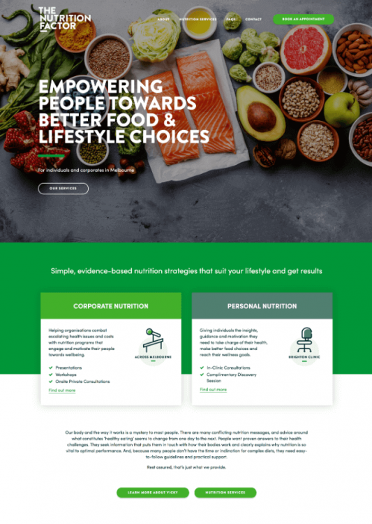 Nutrition website copywriting home page